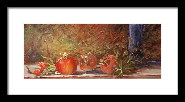 Still Life Framed Print featuring the painting Pomegranates by Jimmie Trotter
