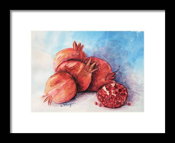 Pomegranate Framed Print featuring the painting Pomegranates by Laurie Morgan