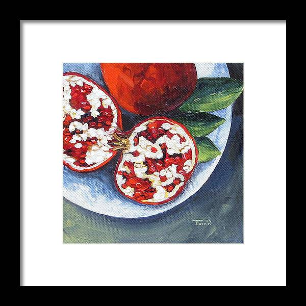 Pomegranate Framed Print featuring the painting Pomegranates on a Plate by Torrie Smiley