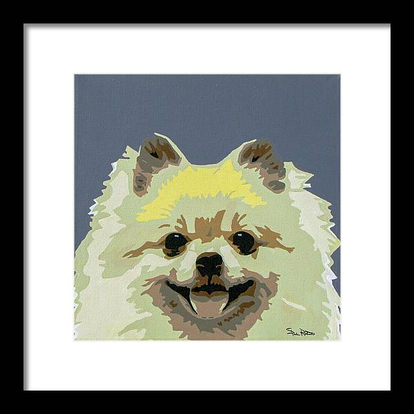 Pomeranian Framed Print featuring the painting Pomeranian by Slade Roberts