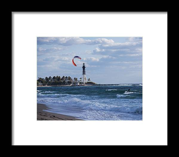 Pompano Framed Print featuring the photograph Pompano Beach Kiteboarder Hillsboro Lighthouse by Toby McGuire