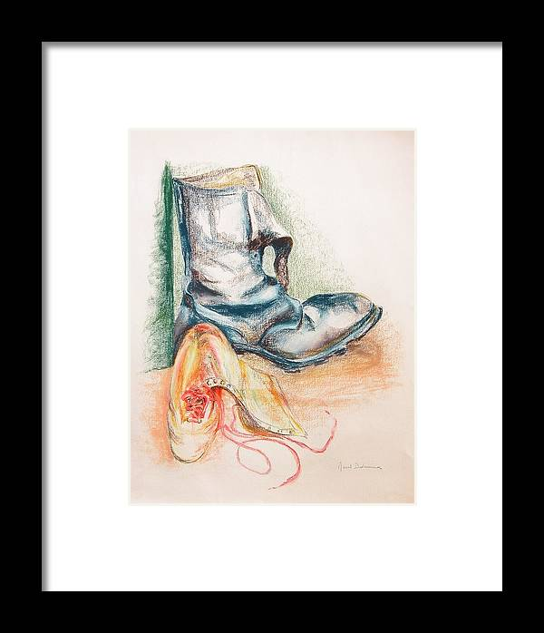 Still Life Framed Print featuring the drawing Pompes by Muriel Dolemieux