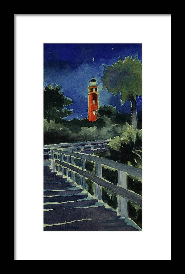 Original Framed Print featuring the painting Ponce Inlet Lighthouse Before Dawn 7-5-17 by Julianne Felton