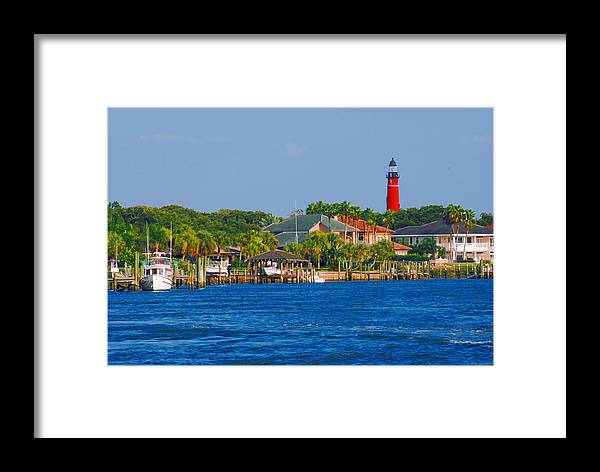 Lighthouse Framed Print featuring the photograph Ponce Inlet Waterfront And Lighthouse by Classic Color Creations
