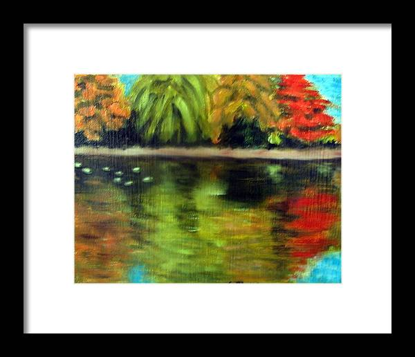 Fall Framed Print featuring the painting Pond 2 by Lia Marsman
