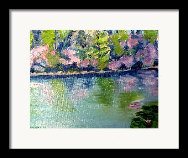 Water Framed Print featuring the painting Pond 3 by Lia Marsman