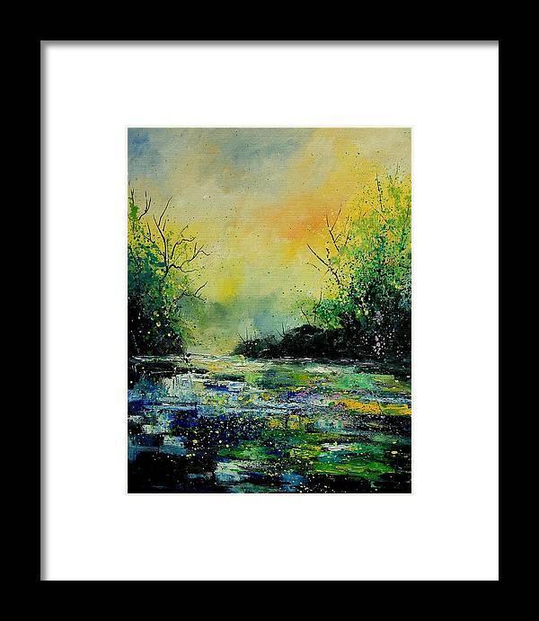 Water Framed Print featuring the painting Pond 459060 by Pol Ledent