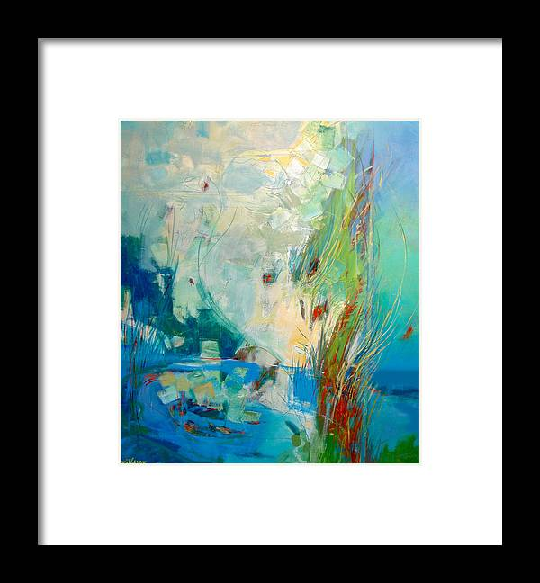 Abstract Framed Print featuring the painting Pond by Dale Witherow