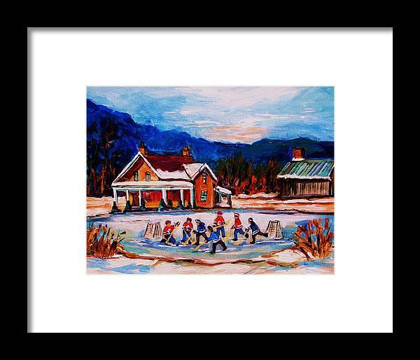 Hockey Framed Print featuring the painting Pond Hockey by Carole Spandau