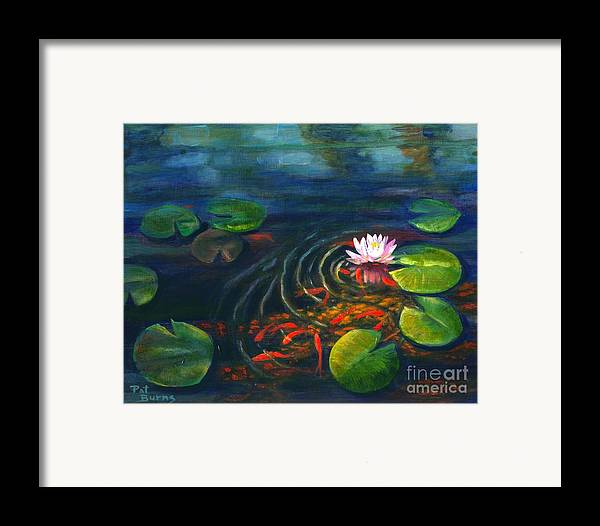 Waterscape Framed Print featuring the painting Pond Jewels by Pat Burns