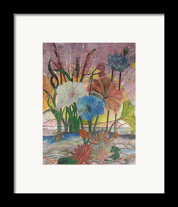 Floral Framed Print featuring the painting Pond by John Vandebrooke