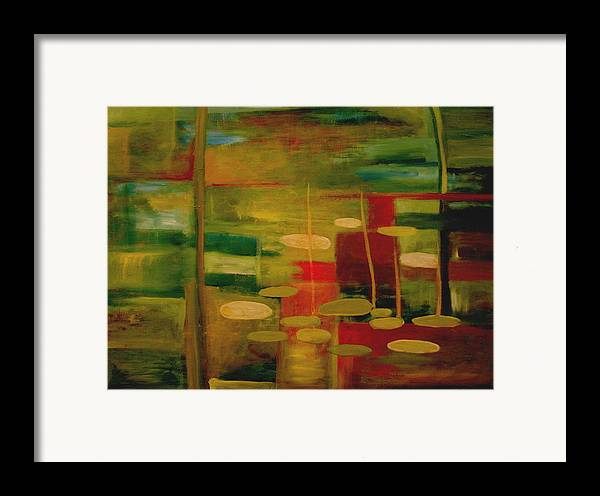 Pond Framed Print featuring the painting Pond Reflections by Jun Jamosmos