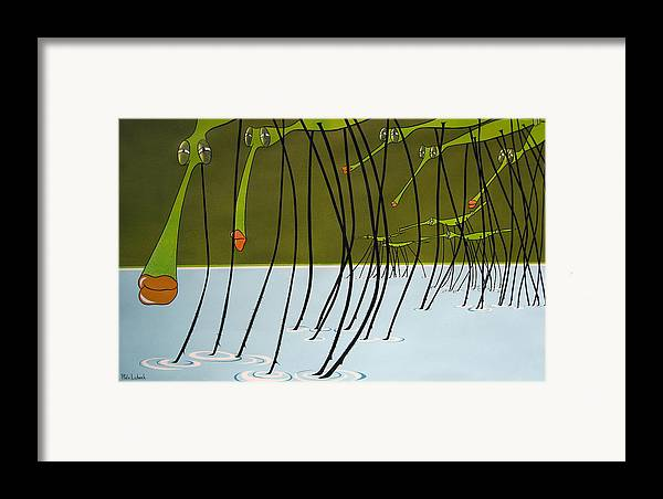 Drawing Framed Print featuring the painting Pond Skaters by Patricia Van Lubeck