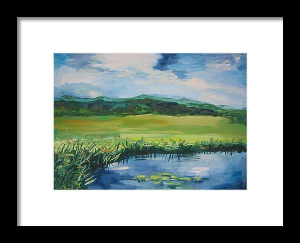 Pond Framed Print featuring the painting Pond Valley by Min Wang