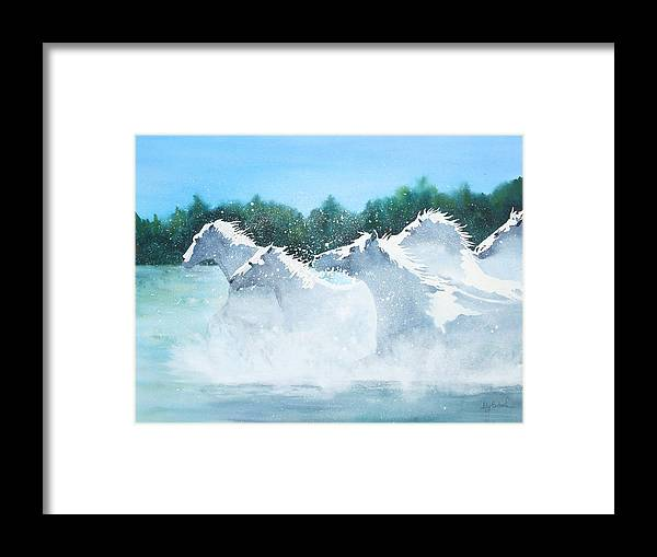 Horse Framed Print featuring the painting Splash 2 by Ally Benbrook