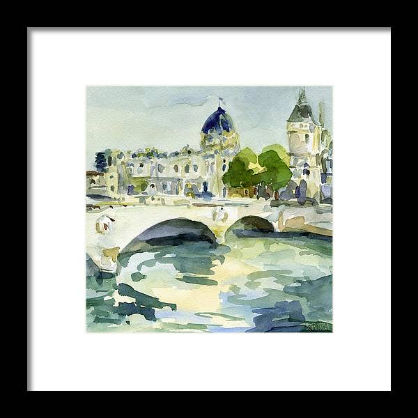 Paris Framed Print featuring the painting Pont de Change Watercolor Paintings of Paris by Beverly Brown
