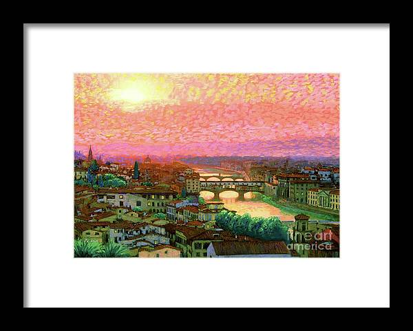 Italy Framed Print featuring the painting Ponte Vecchio Sunset Florence by Jane Small