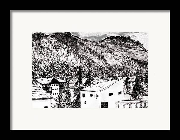 Switzerland Framed Print featuring the drawing Pontresina Black And White by Monica Engeler