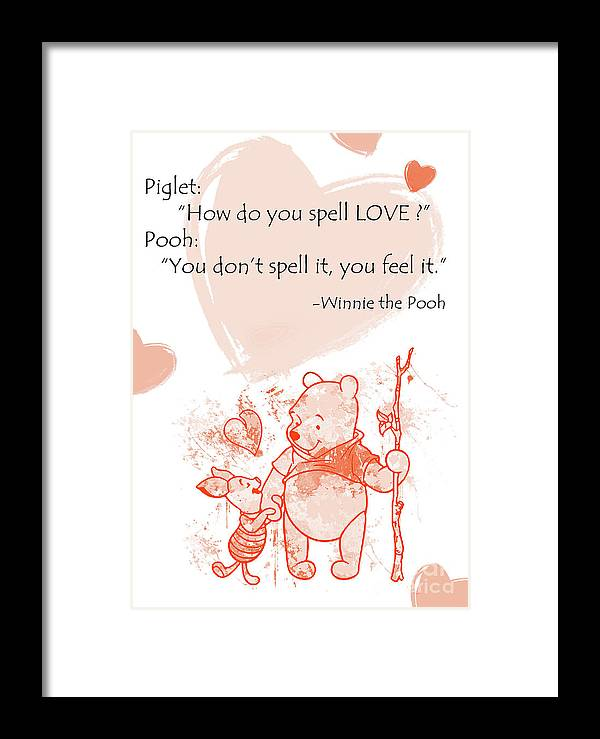 Pooh Cute Quotes Love Is Framed Print By Prar Kulasekara