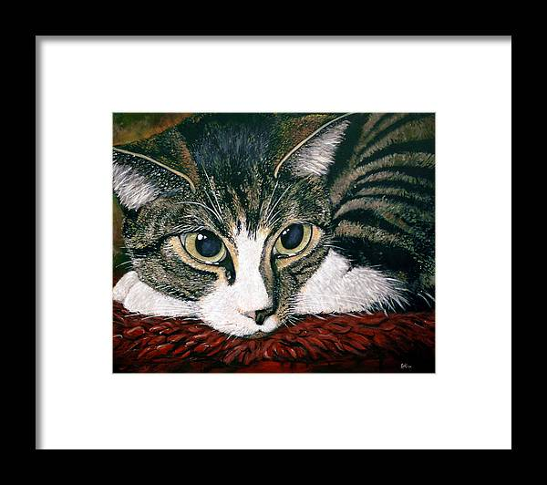 Cat Framed Print featuring the painting Pooky by Arie Van der Wijst