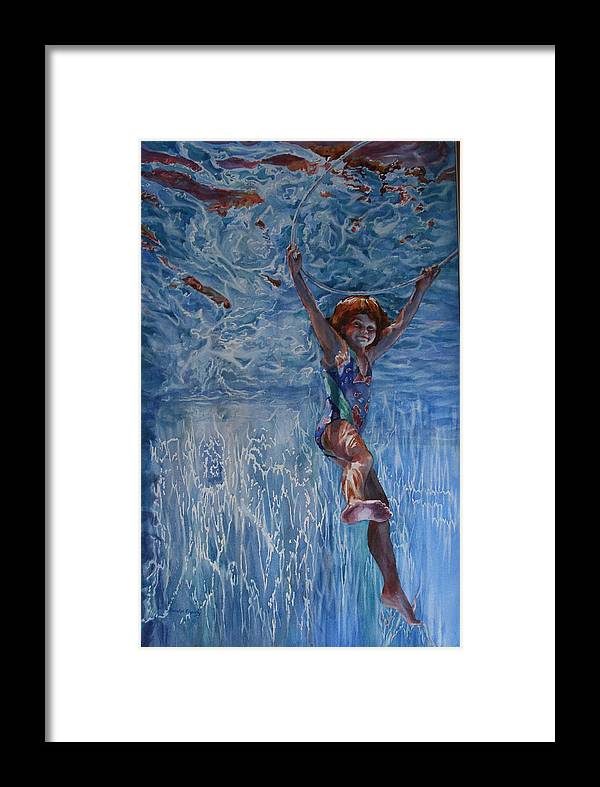 Figure Framed Print featuring the painting Pool Angel by Carolyn Epperly