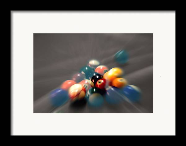 Pool Balls Framed Print featuring the photograph Pool Ball Break 2 by Steve Ohlsen