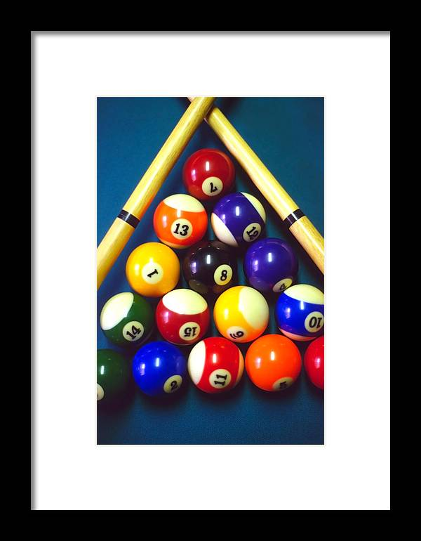 Pool Framed Print featuring the photograph Pool Balls And Cue Sticks by Steve Ohlsen