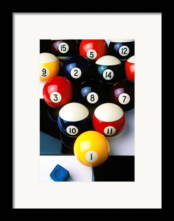 Pool Balls Framed Print featuring the photograph Pool Balls On Tiles by Garry Gay