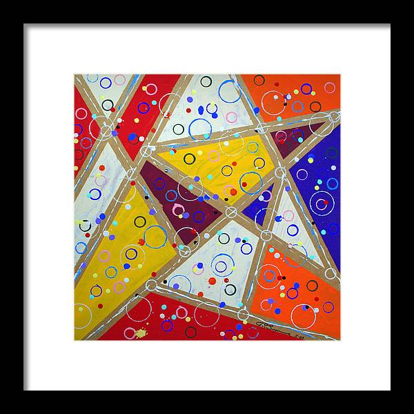 Abstract Framed Print featuring the painting Pop Fizz by J R Seymour