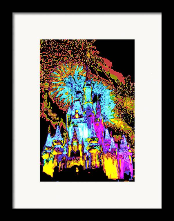 Cincerella Caste. Framed Print featuring the digital art Popart Castle by Charles Ridgway