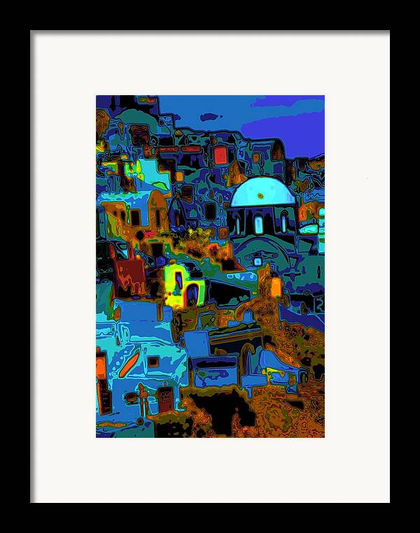 Greece Framed Print featuring the photograph Popart Santorini by Charles Ridgway