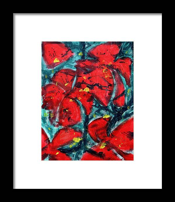 Flowers Framed Print featuring the painting Poppies - Www.jennifer-d-art.com by Jennifer Skalecke