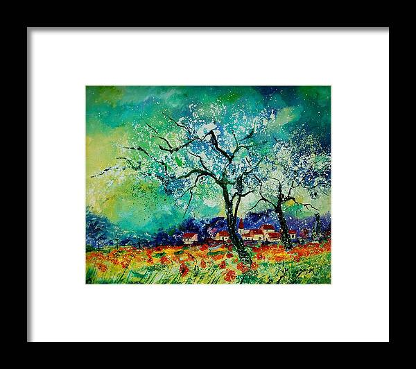 Landscape Framed Print featuring the painting Poppies and appletrees in blossom by Pol Ledent