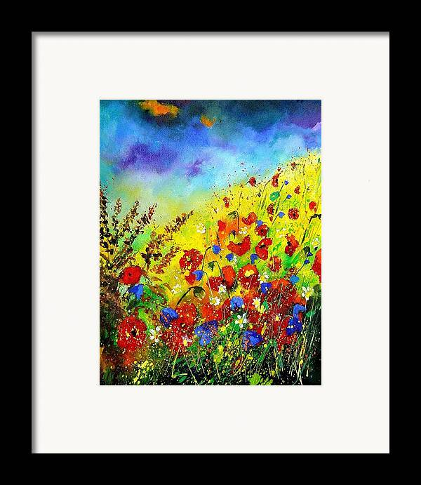 Poppies Framed Print featuring the print Poppies And Blue Bells by Pol Ledent