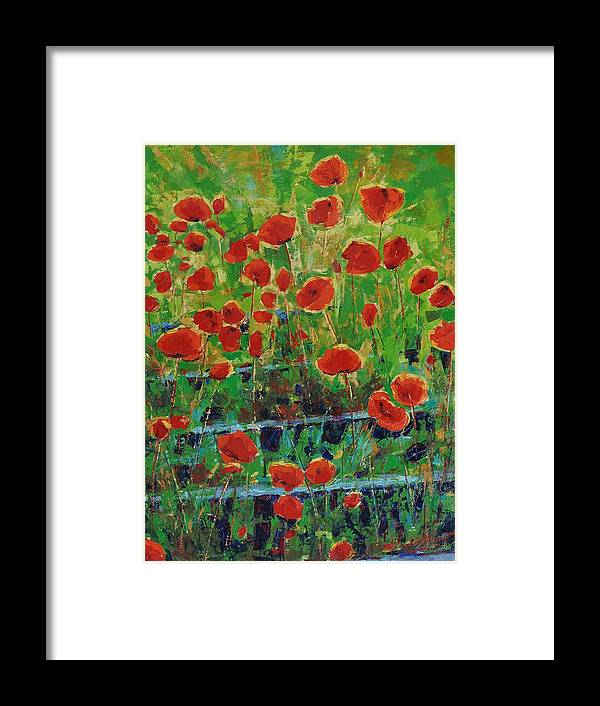 Poppies Framed Print featuring the painting Poppies And Traverses 1 by Iliyan Bozhanov