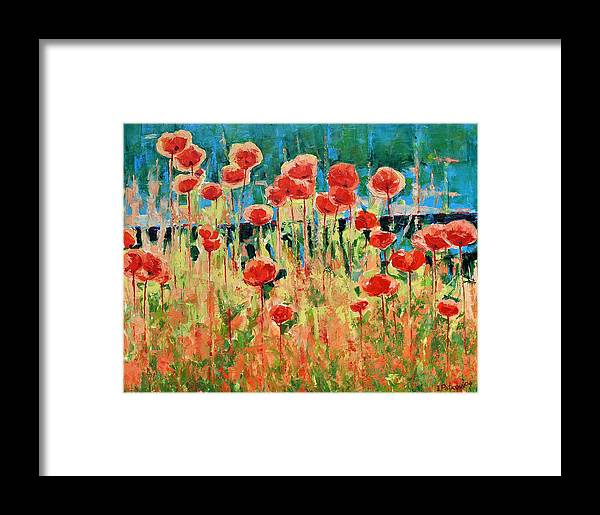 Poppies Framed Print featuring the painting Poppies And Traverses 2 by Iliyan Bozhanov