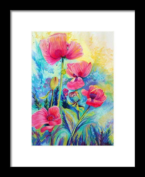 Floral Framed Print featuring the painting Poppies by Bente Hansen