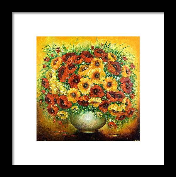 Painting Framed Print featuring the painting Poppies. by Evgenia Davidov