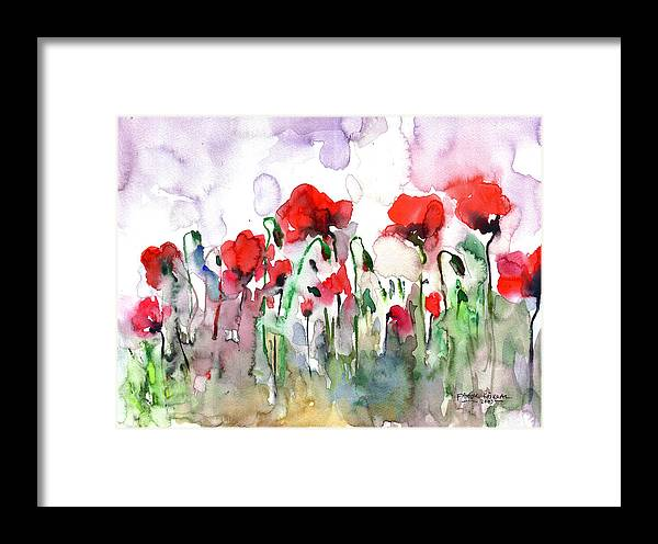 Poppies Framed Print featuring the painting Poppies by Faruk Koksal