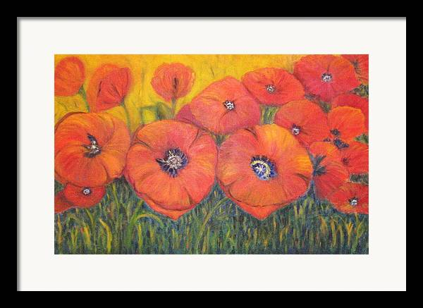 Poppies Framed Print featuring the painting Poppies For My Sister by Patricia Ortman