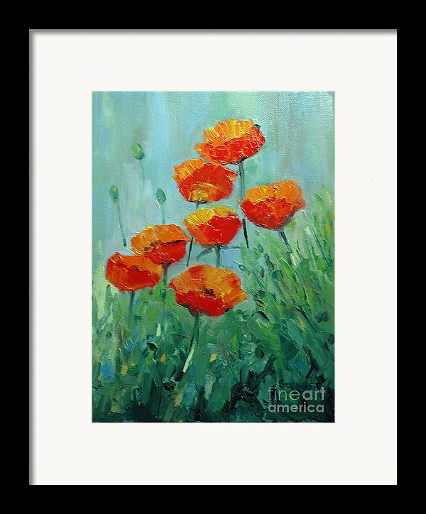 Floral Framed Print featuring the painting Poppies For Sally by Glenn Secrest