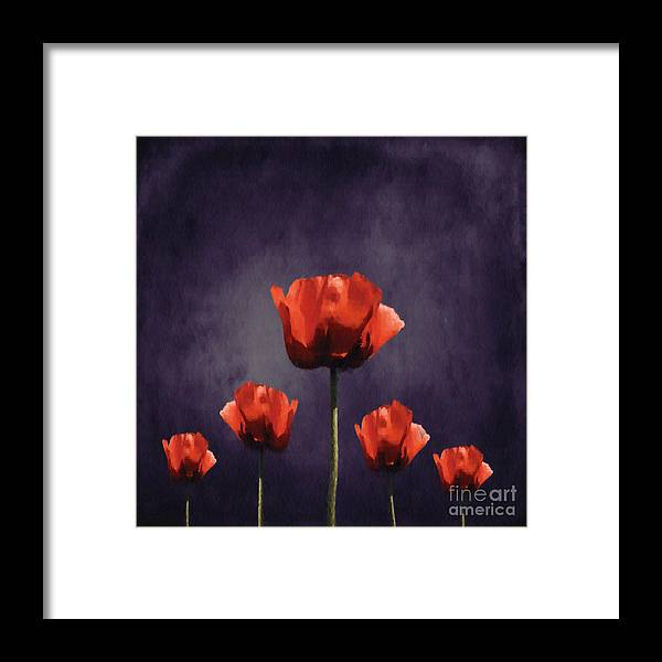 Poppies Framed Print featuring the digital art Poppies Fun 01b by Variance Collections