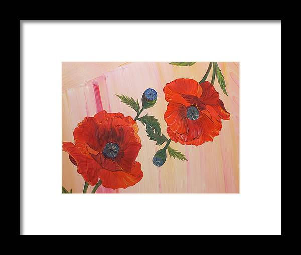 Flowers Framed Print featuring the painting Poppies In Love by Murielle Hebert