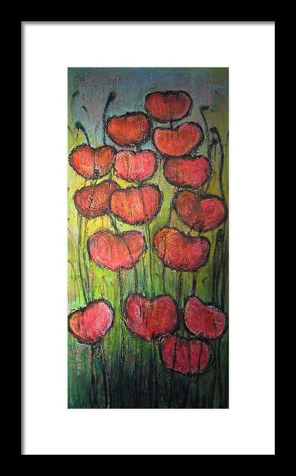 Poppies Framed Print featuring the painting Poppies In Oil by Laurie Maves ART