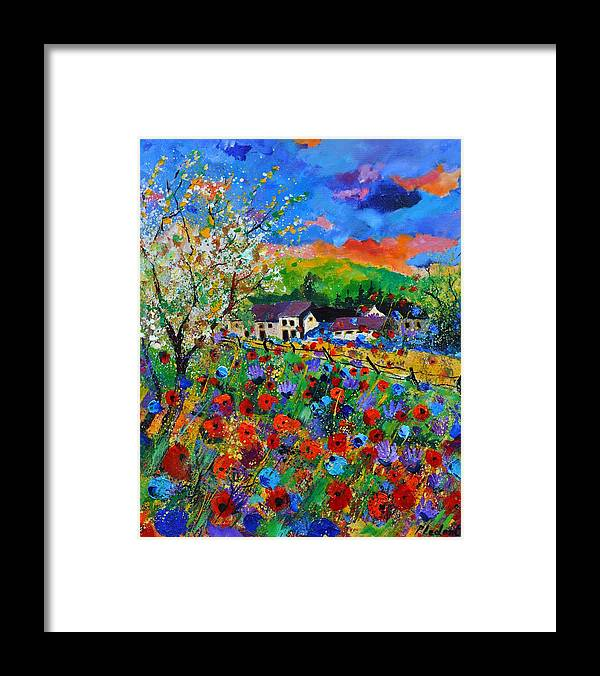 Poppies Framed Print featuring the painting Poppies in Sorinnes by Pol Ledent