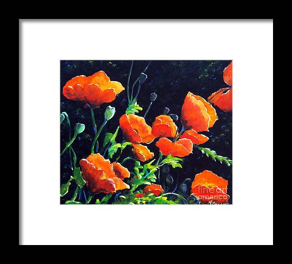 Pavot Framed Print featuring the painting Poppies In The Light by Richard T Pranke
