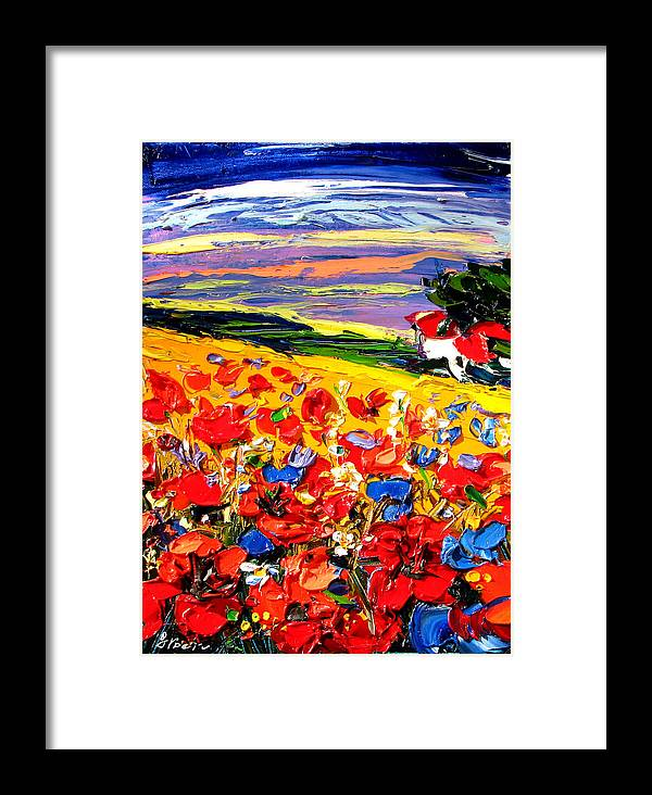 Artwork Framed Print featuring the painting Poppies In The Spring Time. by Maya Green
