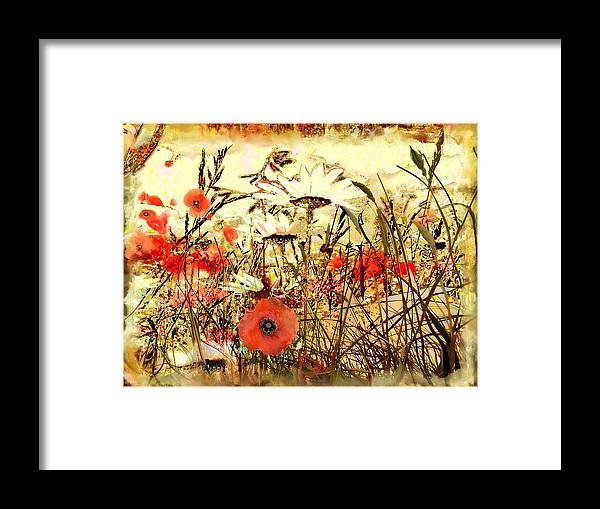 Papaver Framed Print featuring the painting Poppies In Waving Corn by Anne Weirich