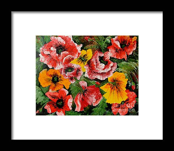 Poppies Framed Print featuring the painting Poppies by Inna Montano