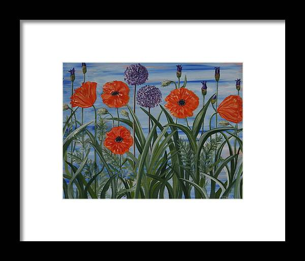 Still-life Framed Print featuring the painting Poppies, Iris, Giant Alium by PJ Wetak